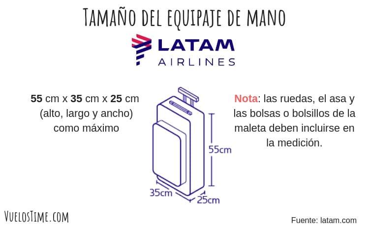 tamaño equipaje de mano latam airlines