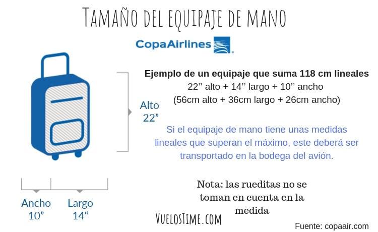 tamaño equipaje de mano vuelos copa airlines