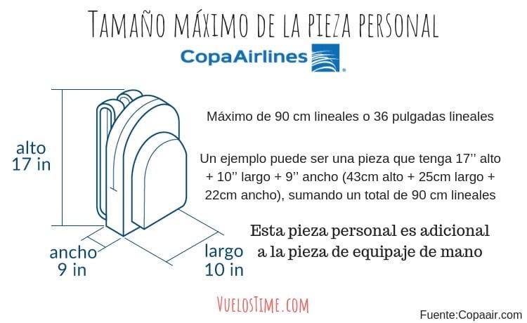 tamaño pieza personal mochila copa airlines